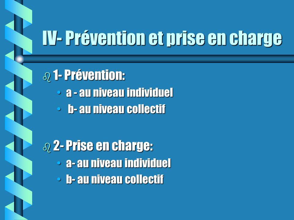IV- Prévention et prise en charge b 1- Prévention: a - au niveau individuela - au niveau individuel b- au niveau collectif b- au niveau collectif b 2-