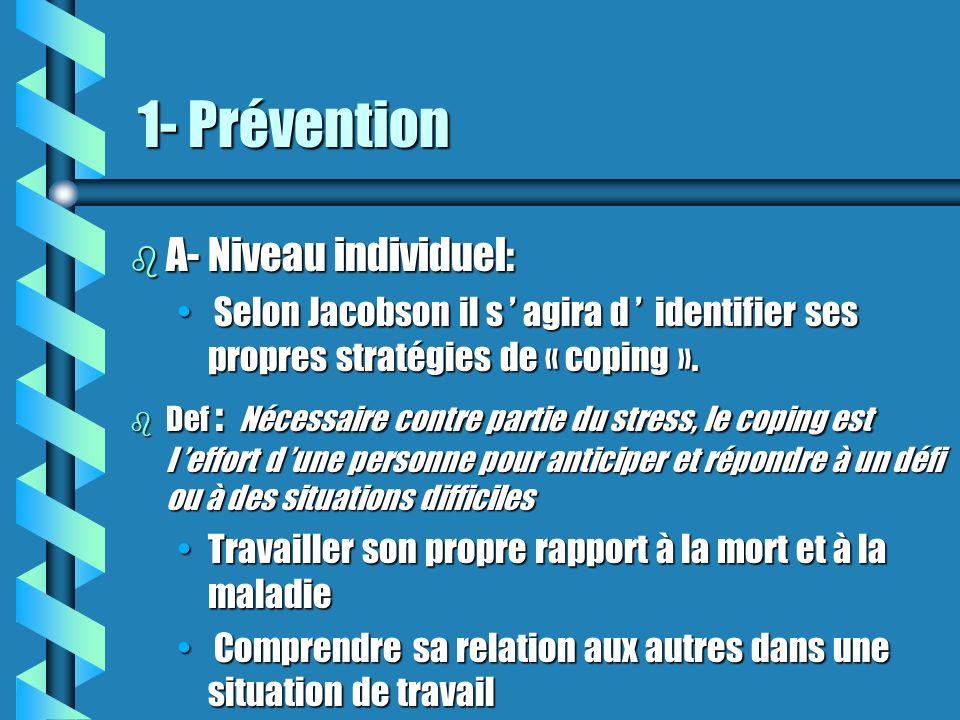 1- Prévention b A- Niveau individuel: Selon Jacobson il s agira d identifier ses propres stratégies de « coping ». Selon Jacobson il s agira d identif
