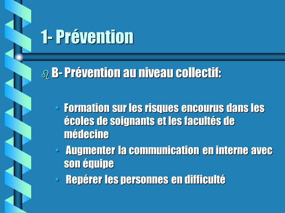 1- Prévention b B- Prévention au niveau collectif: Formation sur les risques encourus dans les écoles de soignants et les facultés de médecineFormatio