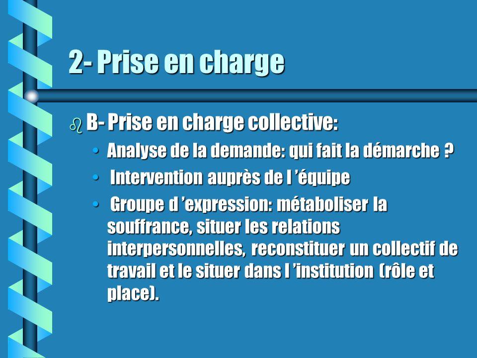 2- Prise en charge b B- Prise en charge collective: Analyse de la demande: qui fait la démarche ?Analyse de la demande: qui fait la démarche ? Interve