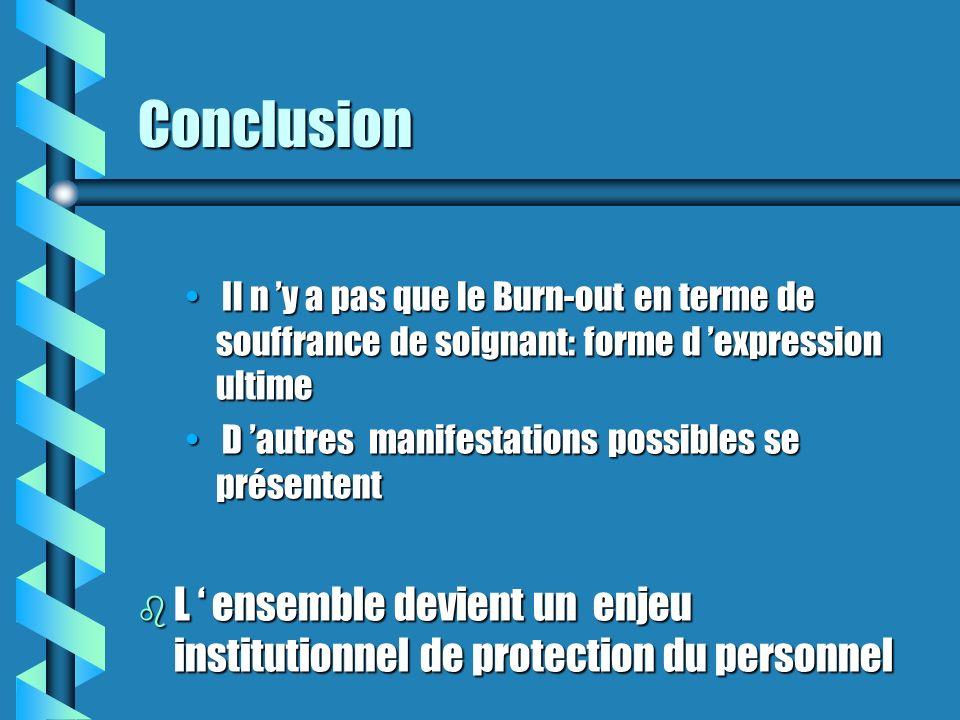 Conclusion Il n y a pas que le Burn-out en terme de souffrance de soignant: forme d expression ultime Il n y a pas que le Burn-out en terme de souffra