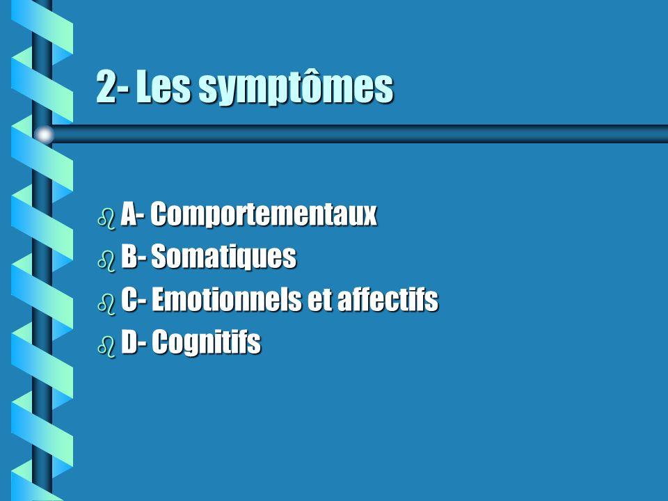 2- Les symptômes b A- Comportementaux b B- Somatiques b C- Emotionnels et affectifs b D- Cognitifs