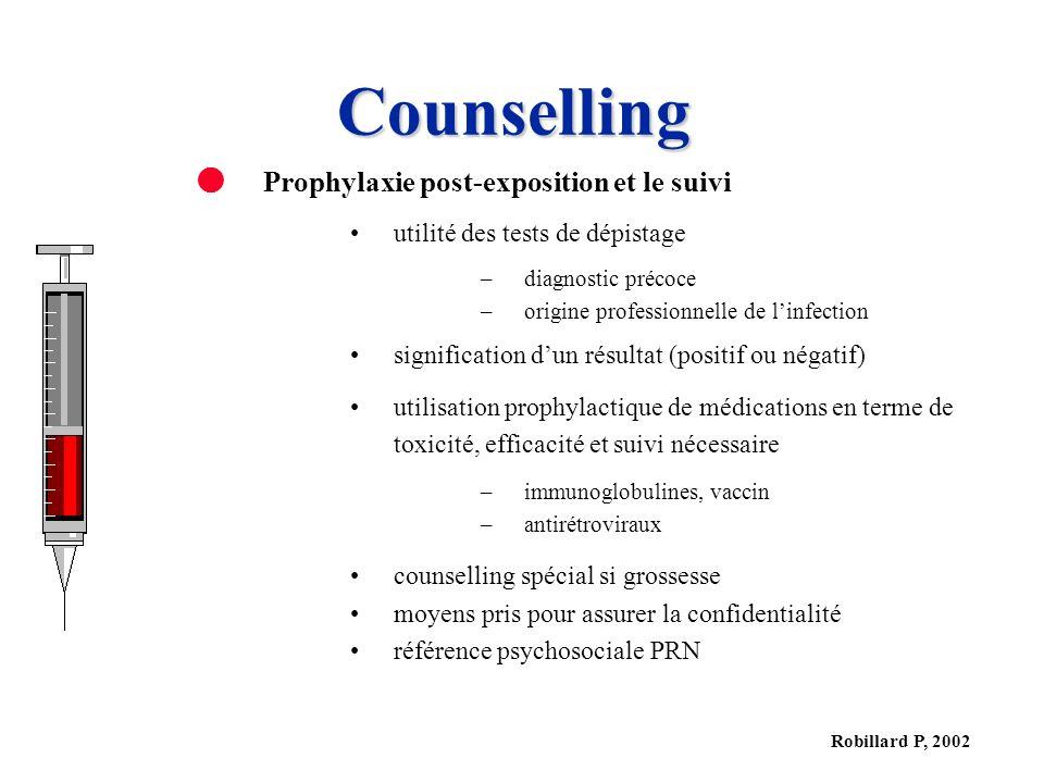 Robillard P, 2002 Counselling Prophylaxie post-exposition et le suivi utilité des tests de dépistage –diagnostic précoce –origine professionnelle de l