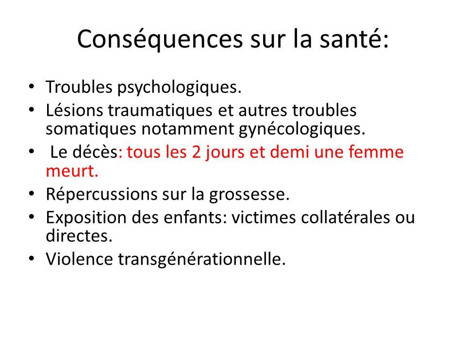 Conséquences sur la santé: Troubles psychologiques. Lésions traumatiques et autres troubles somatiques notamment gynécologiques. Le décès: tous les 2