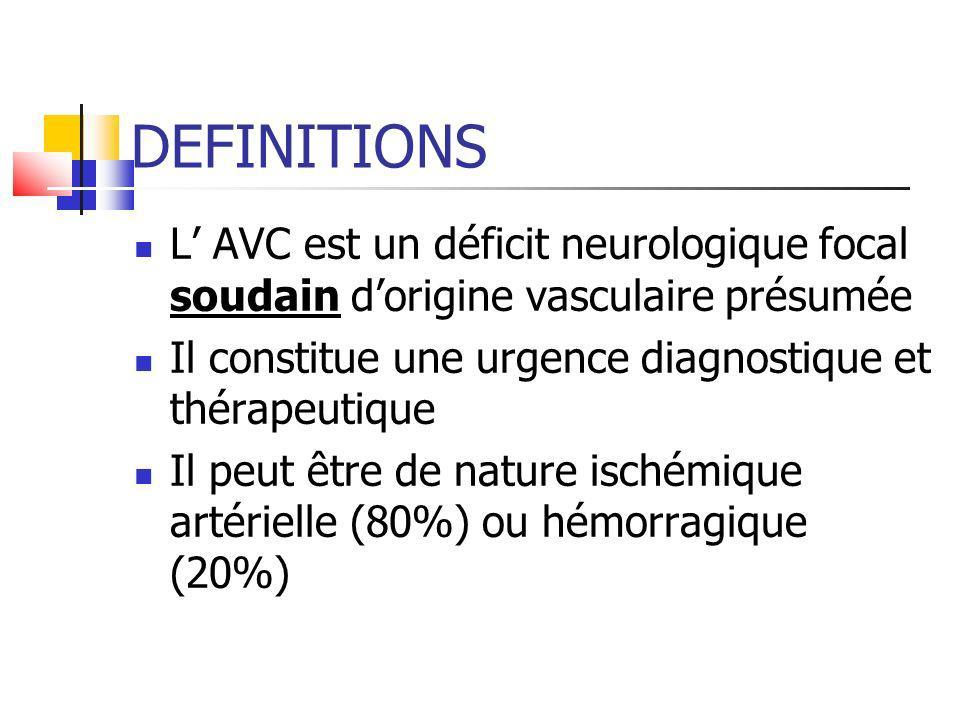 DEFINITIONS L AVC est un déficit neurologique focal soudain dorigine vasculaire présumée Il constitue une urgence diagnostique et thérapeutique Il peu