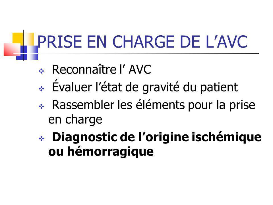 PRISE EN CHARGE DE LAVC Reconnaître l AVC Évaluer létat de gravité du patient Rassembler les éléments pour la prise en charge Diagnostic de lorigine i