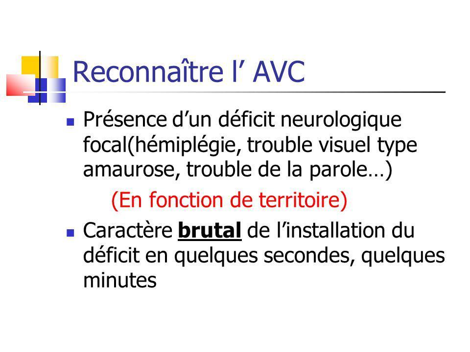 Reconnaître l AVC Présence dun déficit neurologique focal(hémiplégie, trouble visuel type amaurose, trouble de la parole…) (En fonction de territoire)