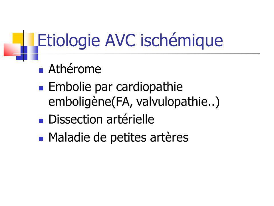 Etiologie AVC ischémique Athérome Embolie par cardiopathie emboligène(FA, valvulopathie..) Dissection artérielle Maladie de petites artères