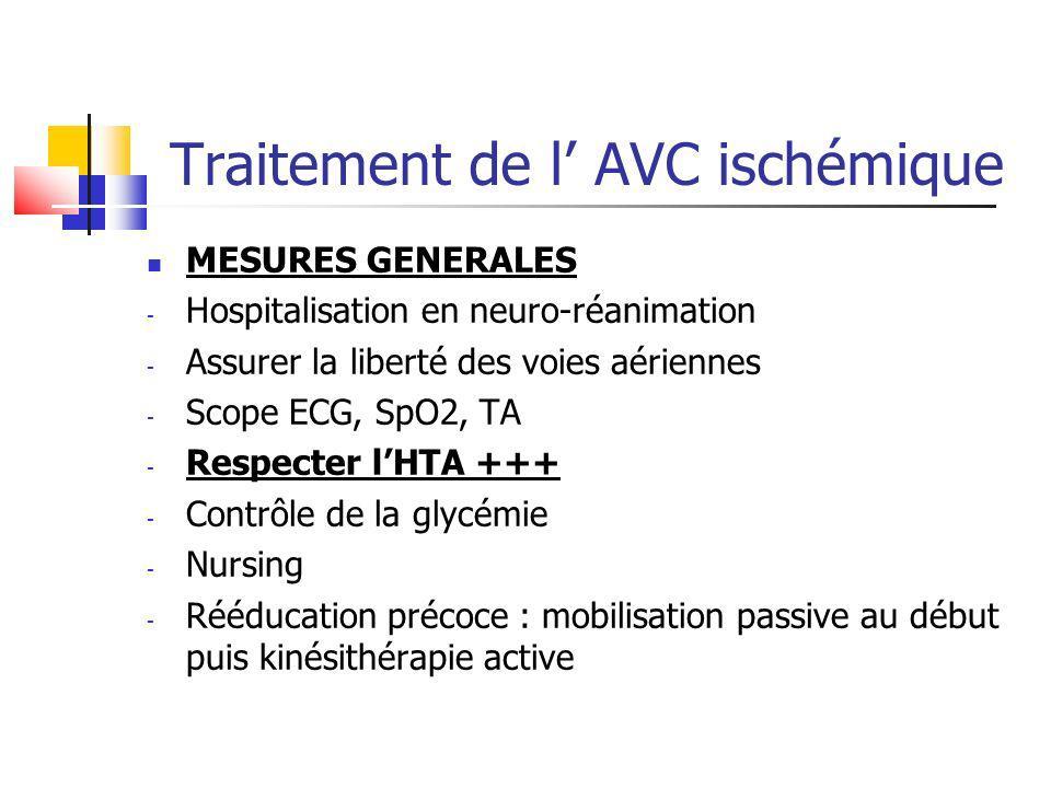 Traitement de l AVC ischémique MESURES GENERALES - Hospitalisation en neuro-réanimation - Assurer la liberté des voies aériennes - Scope ECG, SpO2, TA