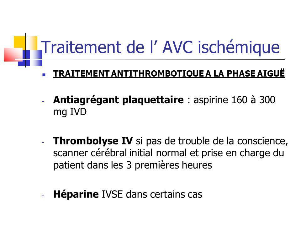 Traitement de l AVC ischémique TRAITEMENT ANTITHROMBOTIQUE A LA PHASE AIGUË - Antiagrégant plaquettaire : aspirine 160 à 300 mg IVD - Thrombolyse IV s