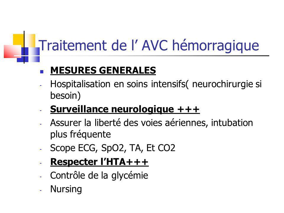 Traitement de l AVC hémorragique MESURES GENERALES - Hospitalisation en soins intensifs( neurochirurgie si besoin) - Surveillance neurologique +++ - A