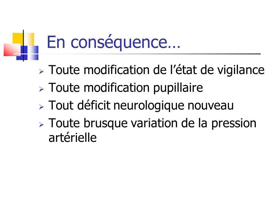 En conséquence… Toute modification de létat de vigilance Toute modification pupillaire Tout déficit neurologique nouveau Toute brusque variation de la