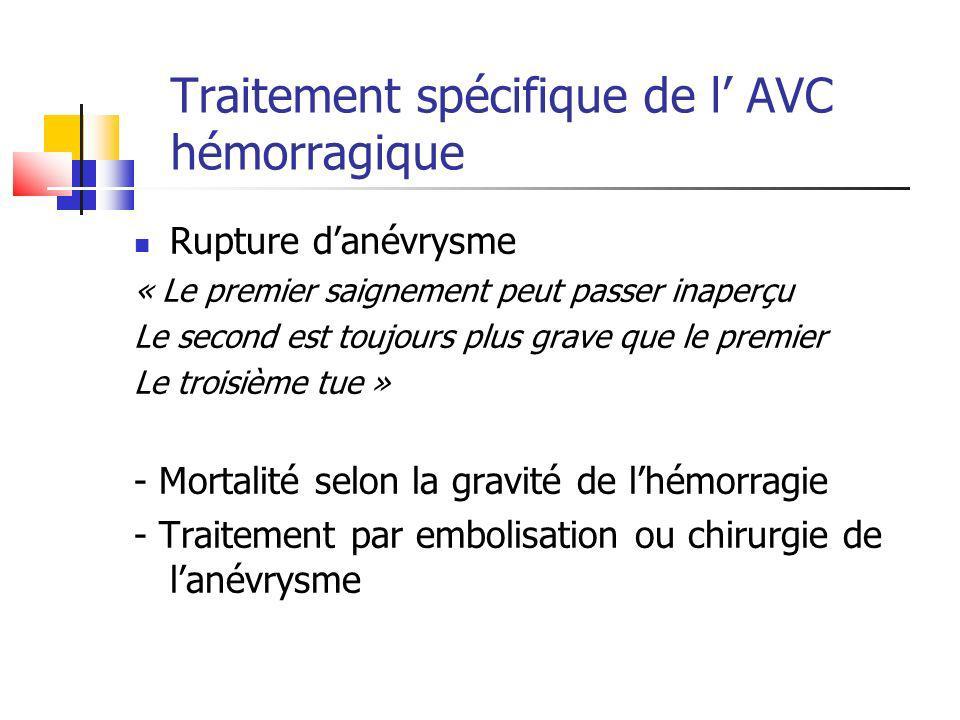 Traitement spécifique de l AVC hémorragique Rupture danévrysme « Le premier saignement peut passer inaperçu Le second est toujours plus grave que le p