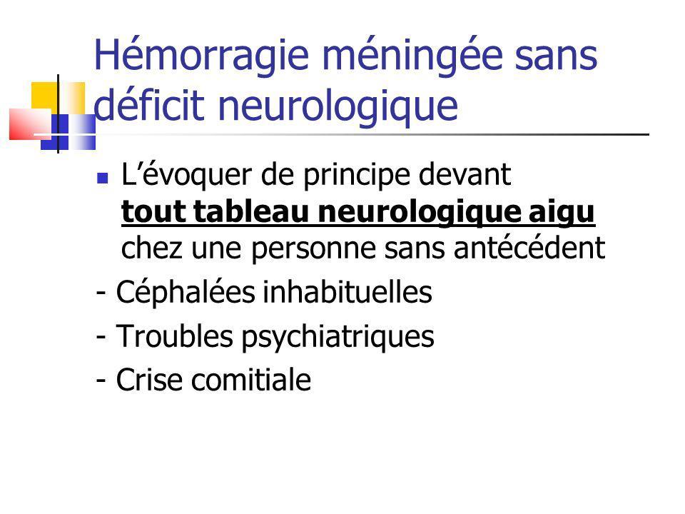 Hémorragie méningée sans déficit neurologique Lévoquer de principe devant tout tableau neurologique aigu chez une personne sans antécédent - Céphalées