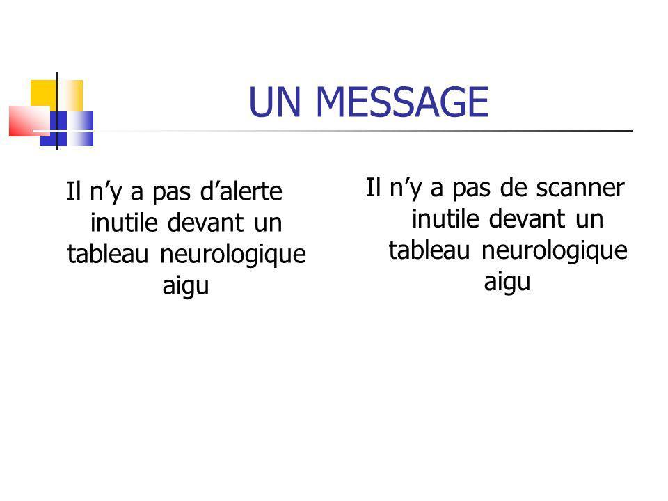 UN MESSAGE Il ny a pas dalerte inutile devant un tableau neurologique aigu Il ny a pas de scanner inutile devant un tableau neurologique aigu