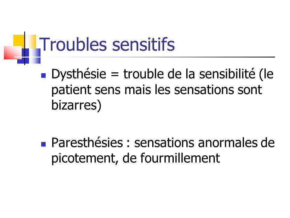 Troubles sensitifs Dysthésie = trouble de la sensibilité (le patient sens mais les sensations sont bizarres) Paresthésies : sensations anormales de pi