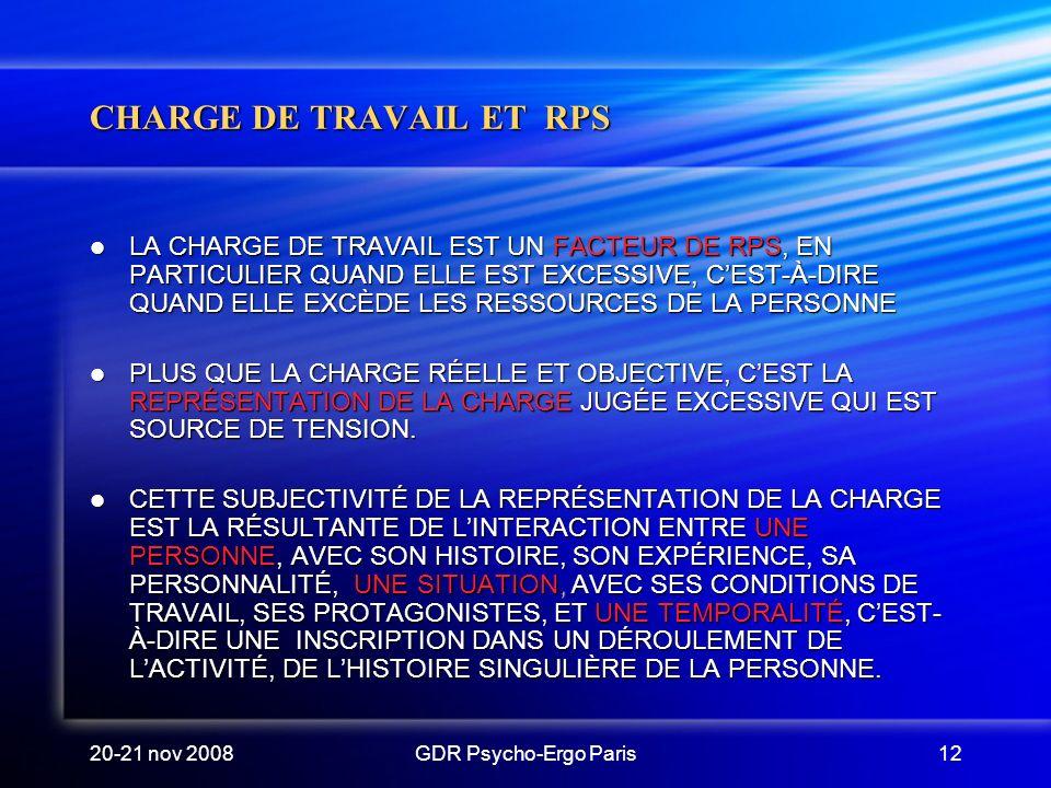 20-21 nov 2008GDR Psycho-Ergo Paris12 CHARGE DE TRAVAIL ET RPS LA CHARGE DE TRAVAIL EST UN FACTEUR DE RPS, EN PARTICULIER QUAND ELLE EST EXCESSIVE, CE