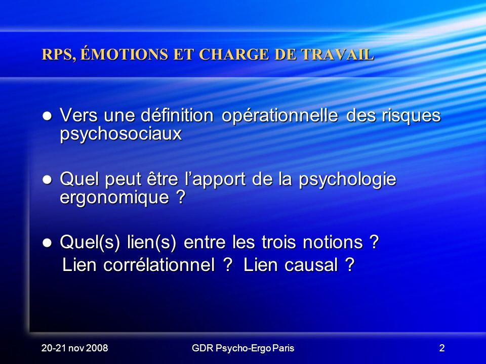 20-21 nov 2008GDR Psycho-Ergo Paris2 RPS, ÉMOTIONS ET CHARGE DE TRAVAIL Vers une définition opérationnelle des risques psychosociaux Vers une définiti
