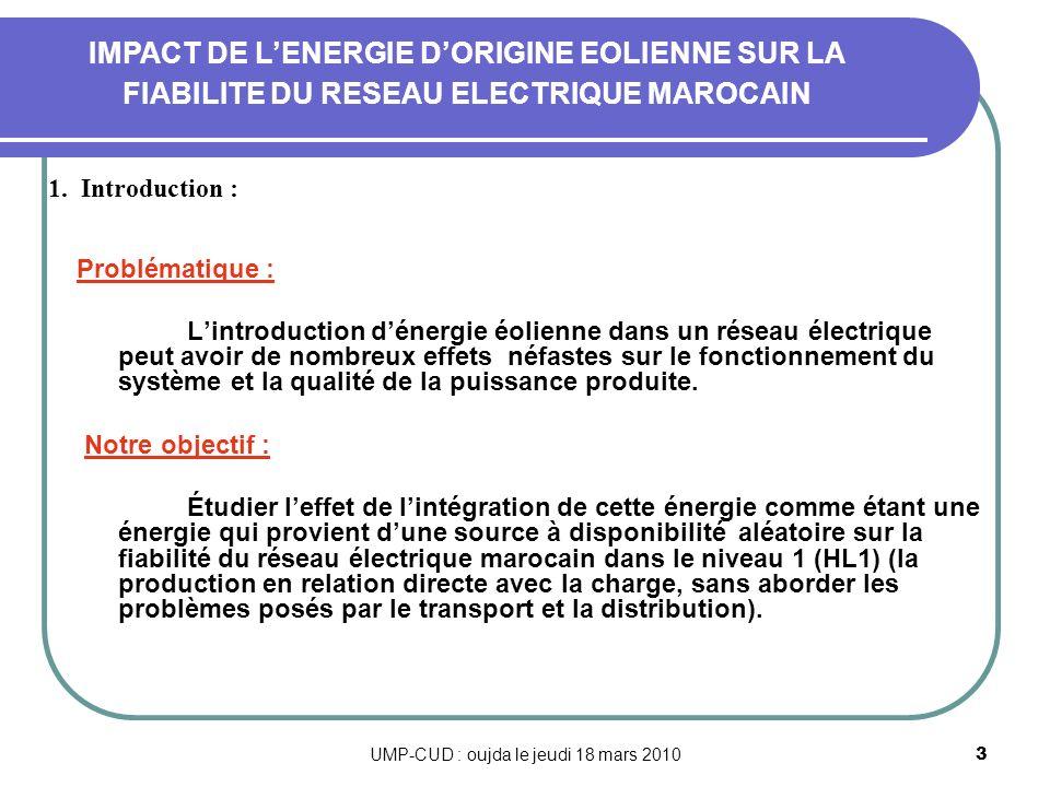 UMP-CUD : oujda le jeudi 18 mars 20103 Problématique : Lintroduction dénergie éolienne dans un réseau électrique peut avoir de nombreux effets néfaste