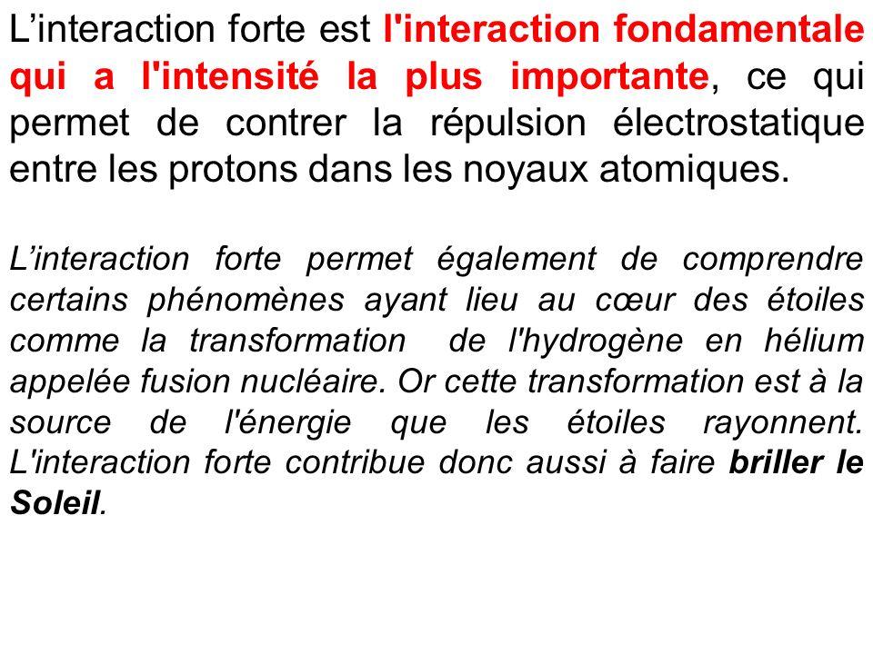Linteraction forte est l'interaction fondamentale qui a l'intensité la plus importante, ce qui permet de contrer la répulsion électrostatique entre le