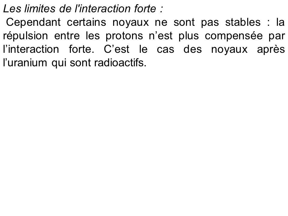 Les limites de l'interaction forte : Cependant certains noyaux ne sont pas stables : la répulsion entre les protons nest plus compensée par linteracti