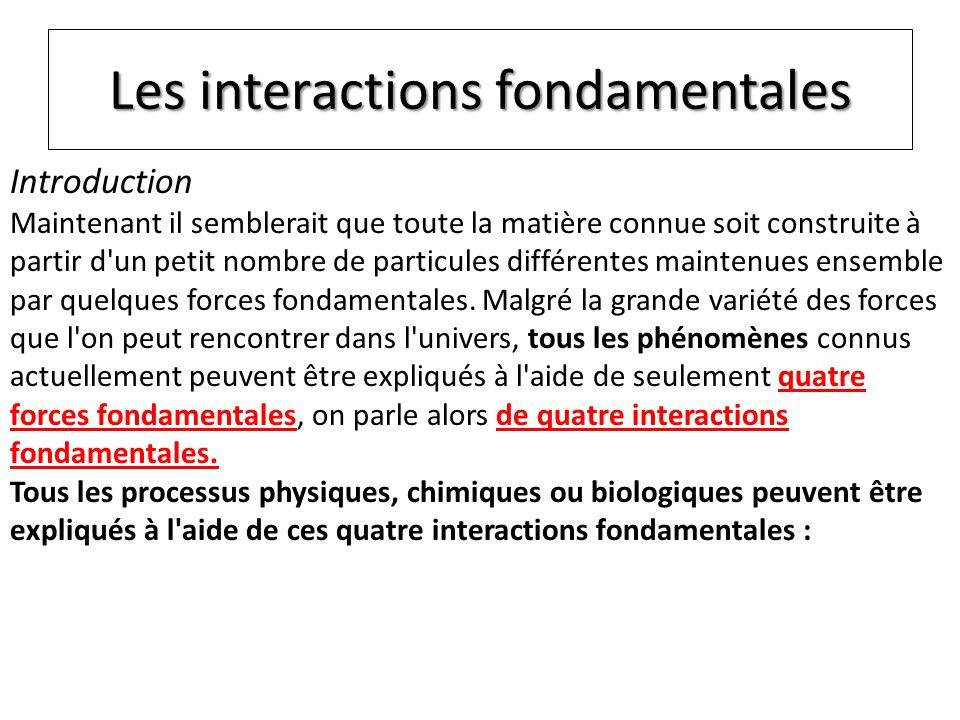 l interaction gravitationnelle (ou gravitation), qui explique la pesanteur (donc le poids) mais aussi les marées ou les trajectoires des planètes ou des étoiles, l interaction électromagnétique, qui permet d expliquer lélectrostatique (électrisation), l électricité, le magnétisme, la lumière, les réactions chimiques ou la biologie (en fait quasiment tous les phénomènes de la vie courante), l interaction forte, qui explique la cohésion des noyaux atomiques (donc l existence de la matière que nous connaissons).