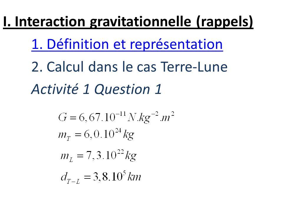 I. Interaction gravitationnelle (rappels) 1. Définition et représentation 2. Calcul dans le cas Terre-Lune Activité 1 Question 1