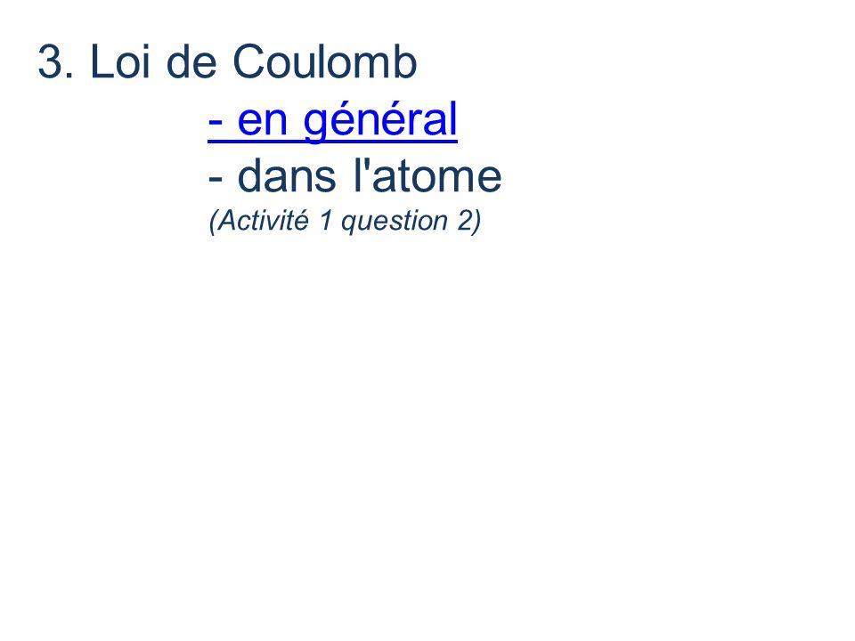3. Loi de Coulomb - en général - dans l'atome - en général (Activité 1 question 2)