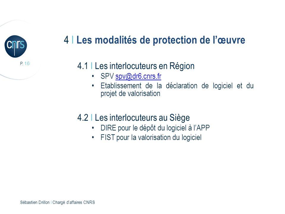 P. 16 Sébastien Drillon l Chargé daffaires CNRS 4 I Les modalités de protection de lœuvre 4.1 I Les interlocuteurs en Région SPV spv@dr6.cnrs.frspv@dr