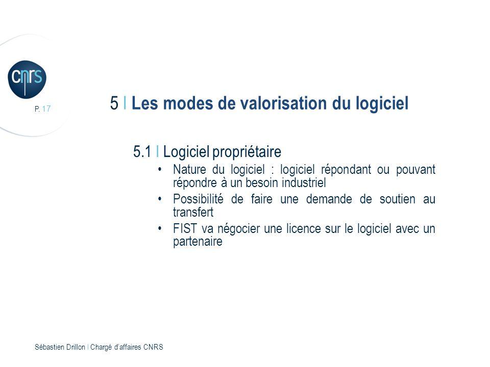 P. 17 Sébastien Drillon l Chargé daffaires CNRS 5 I Les modes de valorisation du logiciel 5.1 I Logiciel propriétaire Nature du logiciel : logiciel ré