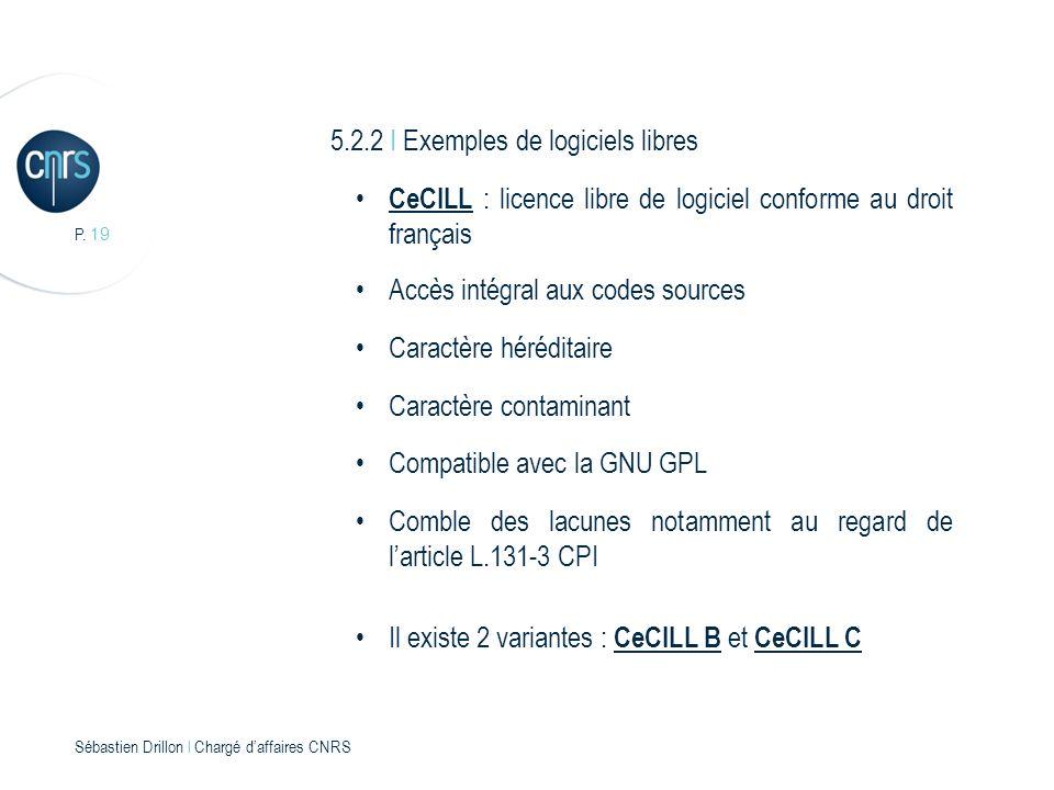P. 19 Sébastien Drillon l Chargé daffaires CNRS 5.2.2 I Exemples de logiciels libres CeCILL : licence libre de logiciel conforme au droit français Acc