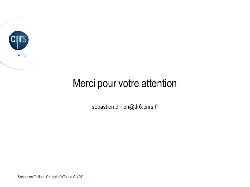 P. 25 Sébastien Drillon l Chargé daffaires CNRS Merci pour votre attention sebastien.drillon@dr6.cnrs.fr