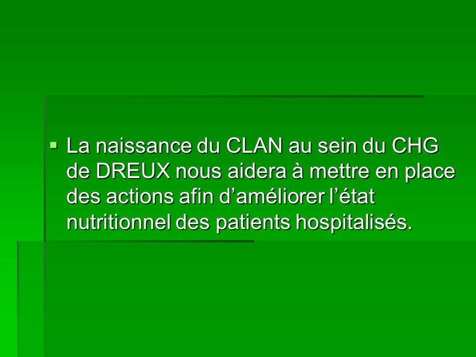 La naissance du CLAN au sein du CHG de DREUX nous aidera à mettre en place des actions afin daméliorer létat nutritionnel des patients hospitalisés. L