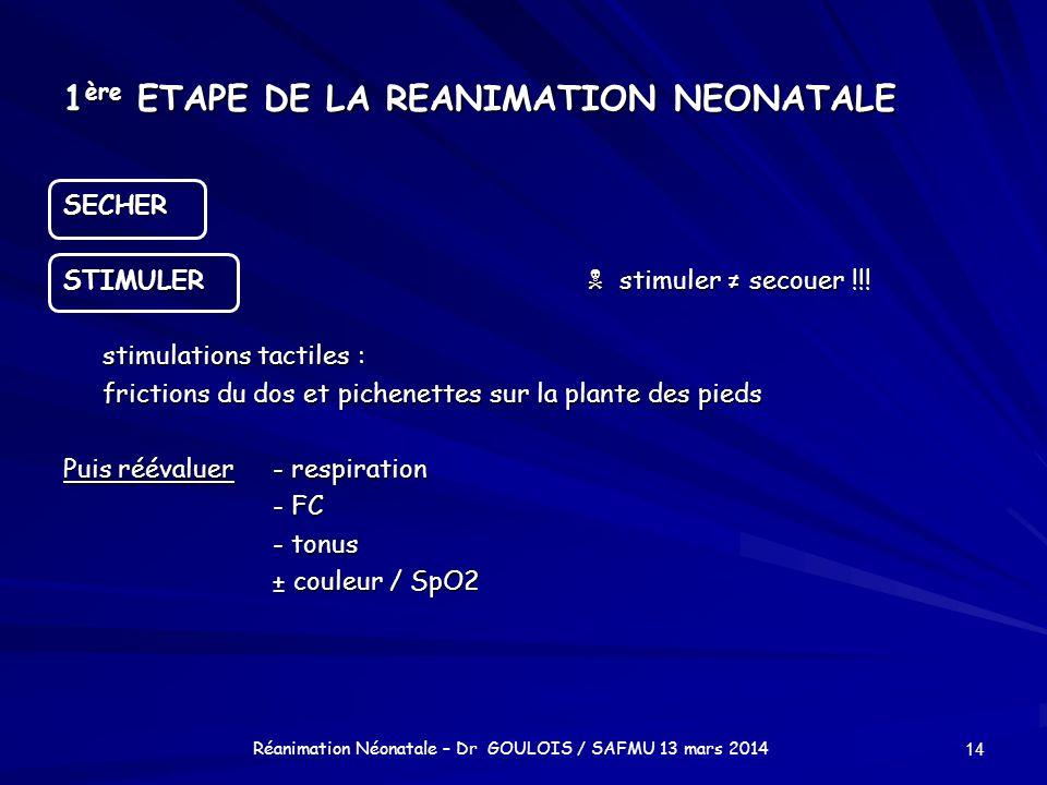 1 ère ETAPE DE LA REANIMATION NEONATALE SECHER STIMULER stimuler secouer !!! stimulations tactiles : frictions du dos et pichenettes sur la plante des