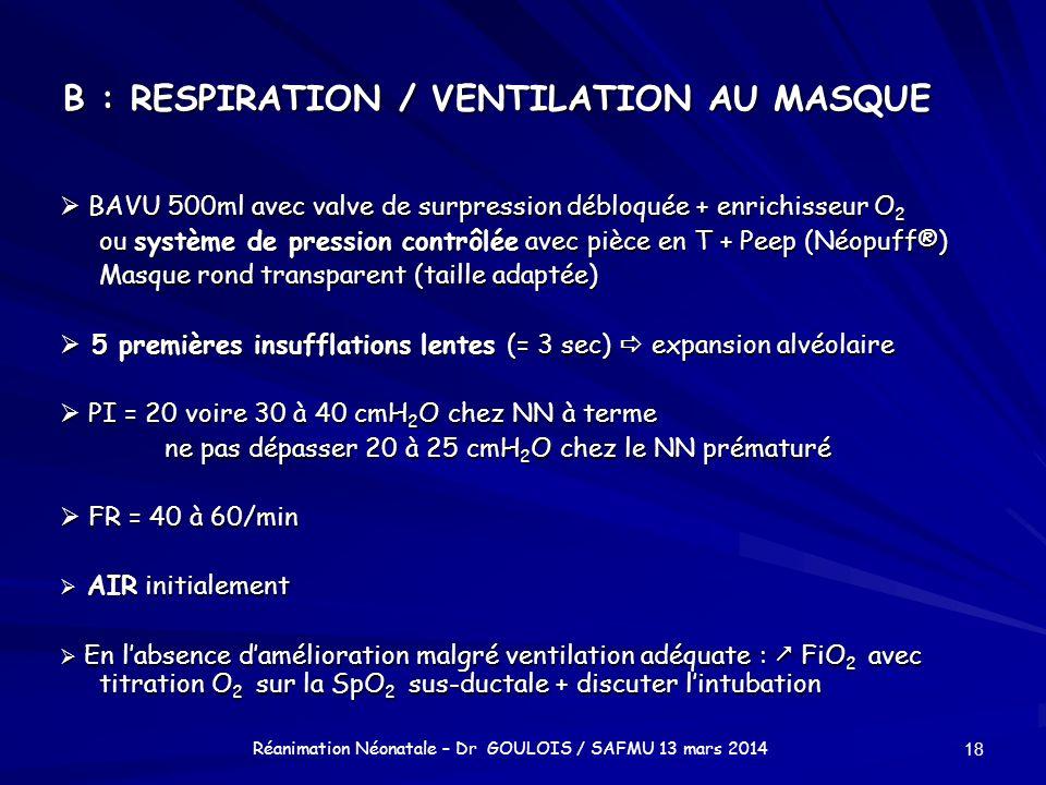 B : RESPIRATION / VENTILATION AU MASQUE BAVU 500ml avec valve de surpression débloquée + enrichisseur O 2 BAVU 500ml avec valve de surpression débloqu