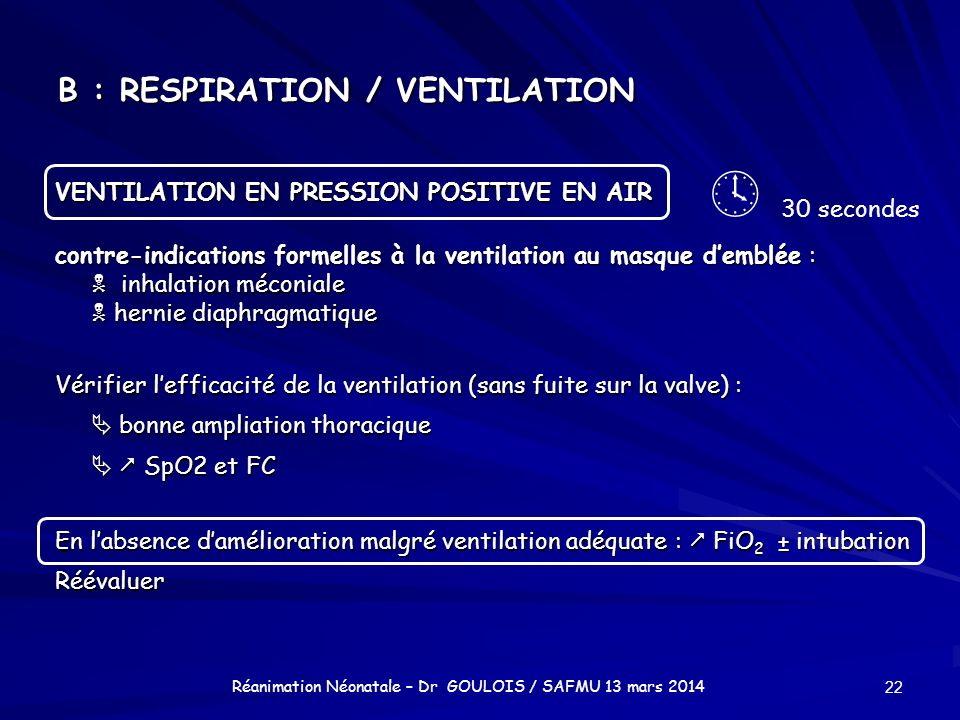 B : RESPIRATION / VENTILATION VENTILATION EN PRESSION POSITIVE EN AIR contre-indications formelles à la ventilation au masque demblée : inhalation méc
