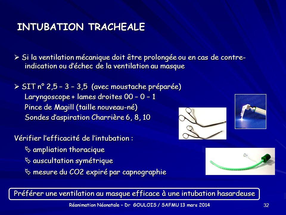 INTUBATION TRACHEALE Si la ventilation mécanique doit être prolongée ou en cas de contre- indication ou déchec de la ventilation au masque Si la venti