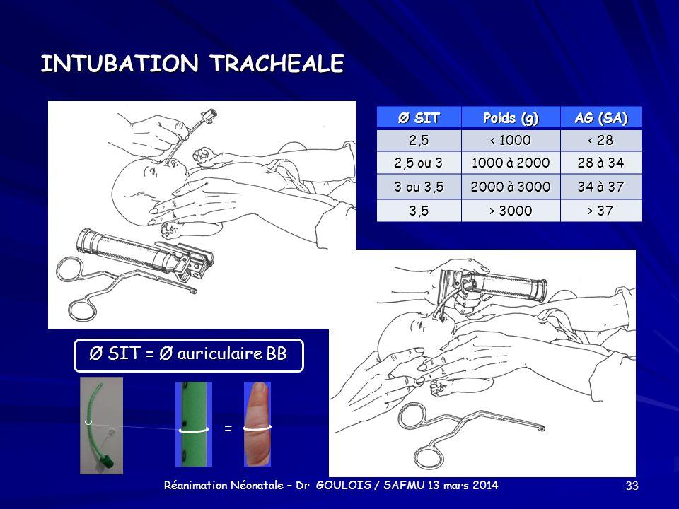 INTUBATION TRACHEALE 33 Réanimation Néonatale – Dr GOULOIS / SAFMU 13 mars 2014 Ø SIT Poids (g) AG (SA) 2,5 < 1000 < 28 2,5 ou 3 1000 à 2000 28 à 34 3