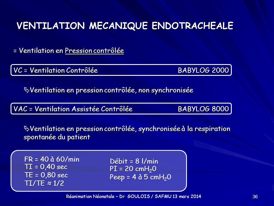 VENTILATION MECANIQUE ENDOTRACHEALE = Ventilation en Pression contrôlée VC = Ventilation ContrôléeBABYLOG 2000 Ventilation en pression contrôlée, non