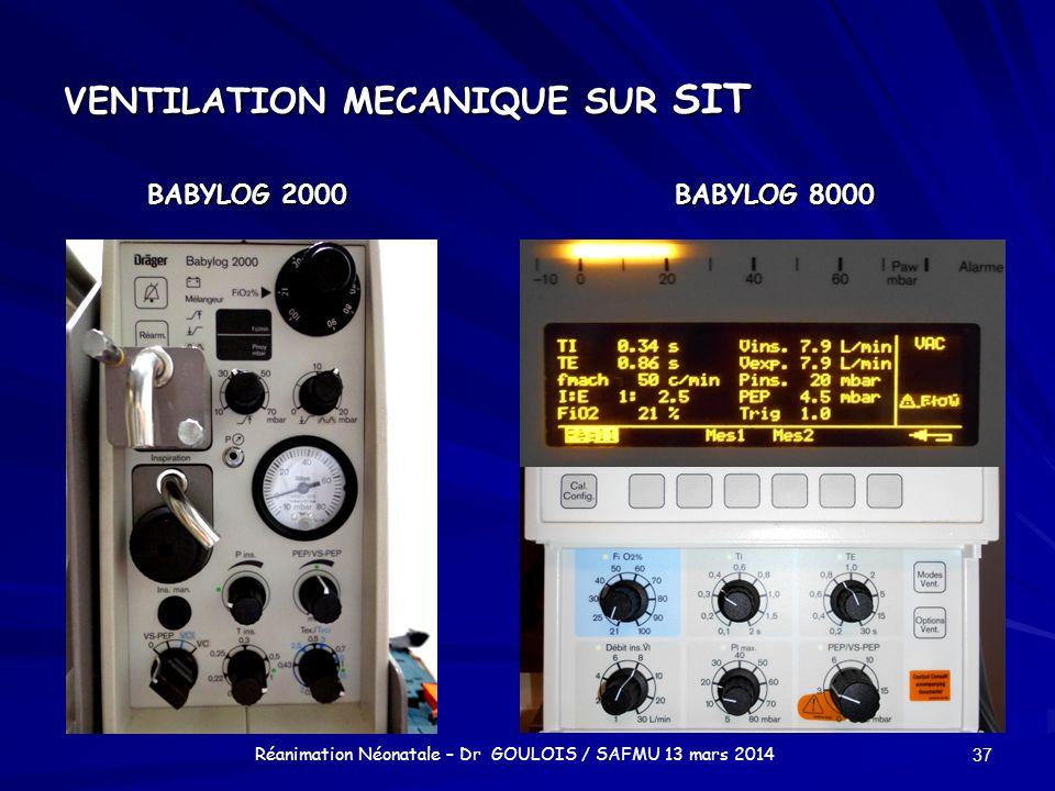 VENTILATION MECANIQUE SUR SIT BABYLOG 2000BABYLOG 8000 37 Réanimation Néonatale – Dr GOULOIS / SAFMU 13 mars 2014