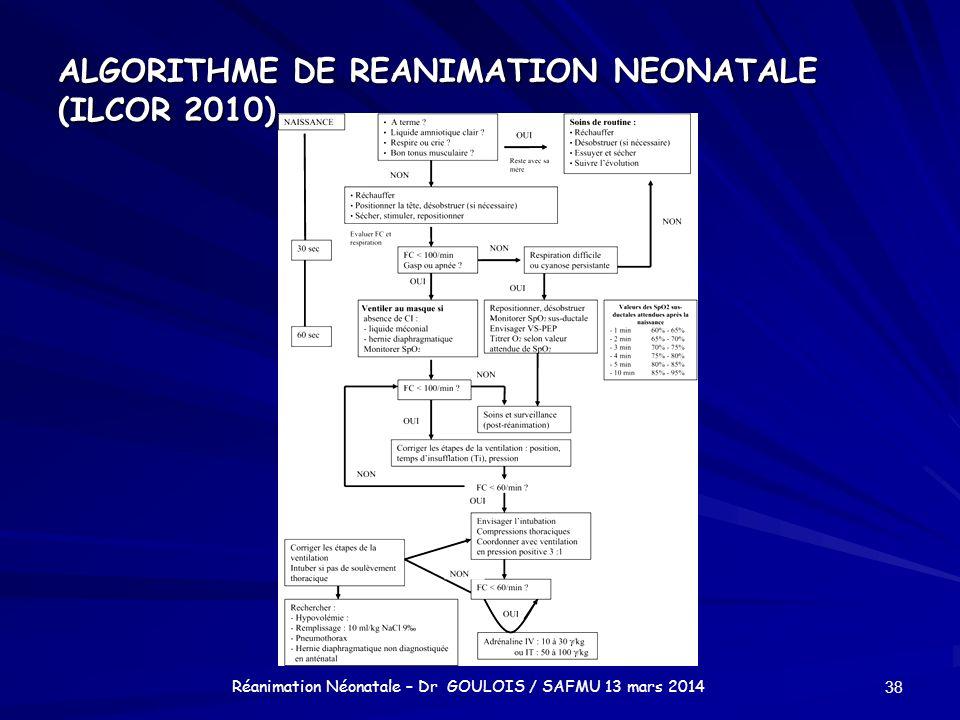 ALGORITHME DE REANIMATION NEONATALE (ILCOR 2010) 38 Réanimation Néonatale – Dr GOULOIS / SAFMU 13 mars 2014