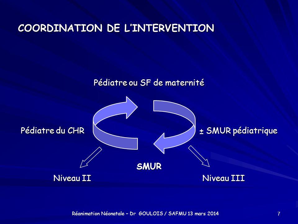 COORDINATION DE LINTERVENTION Pédiatre ou SF de maternité Pédiatre du CHR± SMUR pédiatrique SMUR Niveau IINiveau III 7 Réanimation Néonatale – Dr GOUL