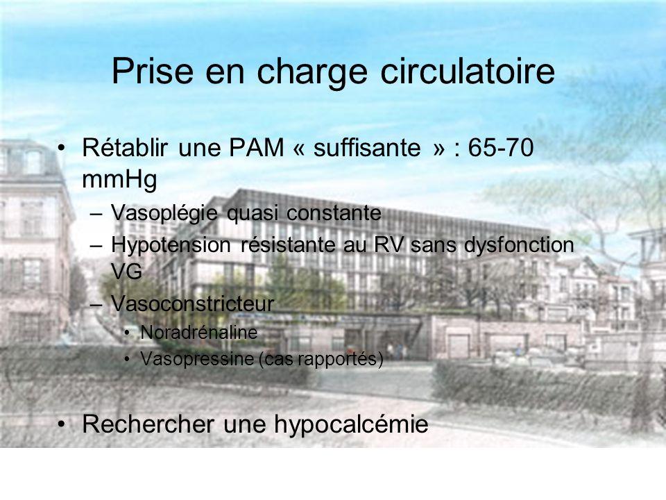 Prise en charge circulatoire Rétablir une PAM « suffisante » : 65-70 mmHg –Vasoplégie quasi constante –Hypotension résistante au RV sans dysfonction VG –Vasoconstricteur Noradrénaline Vasopressine (cas rapportés) Rechercher une hypocalcémie