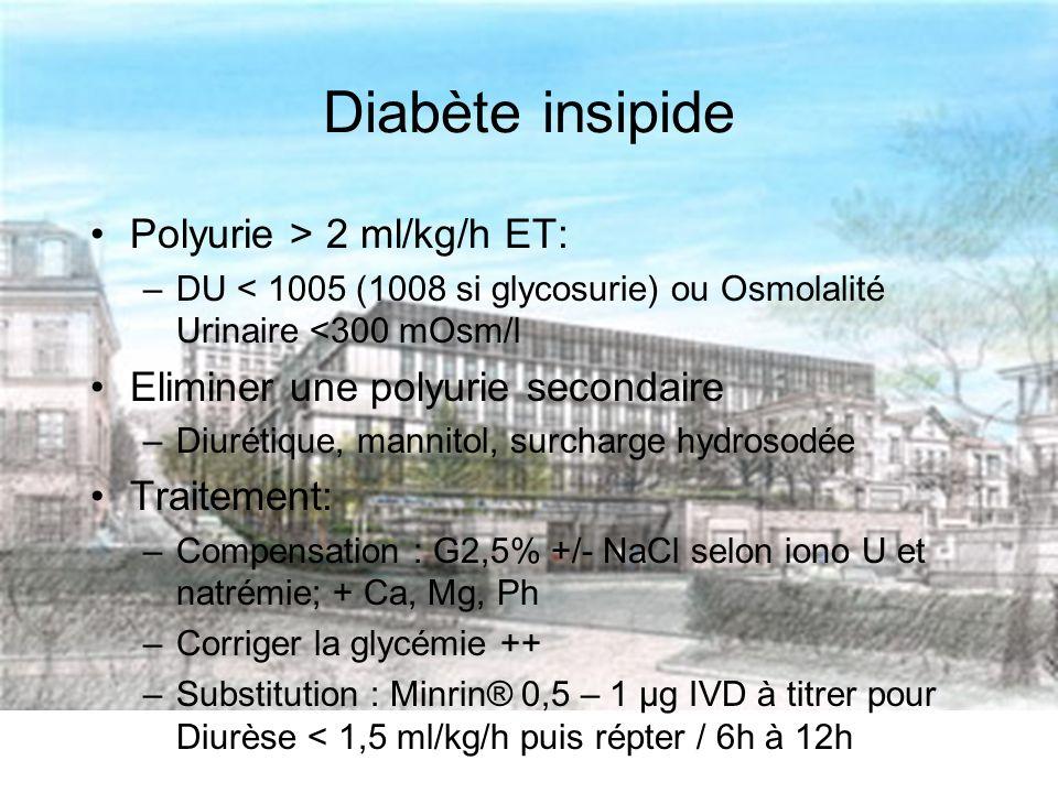 Diabète insipide Polyurie > 2 ml/kg/h ET: –DU < 1005 (1008 si glycosurie) ou Osmolalité Urinaire <300 mOsm/l Eliminer une polyurie secondaire –Diurétique, mannitol, surcharge hydrosodée Traitement: –Compensation : G2,5% +/- NaCl selon iono U et natrémie; + Ca, Mg, Ph –Corriger la glycémie ++ –Substitution : Minrin® 0,5 – 1 µg IVD à titrer pour Diurèse < 1,5 ml/kg/h puis répter / 6h à 12h