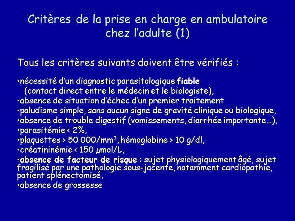 Critères de la prise en charge en ambulatoire chez ladulte (1) Tous les critères suivants doivent être vérifiés : nécessité dun diagnostic parasitolog