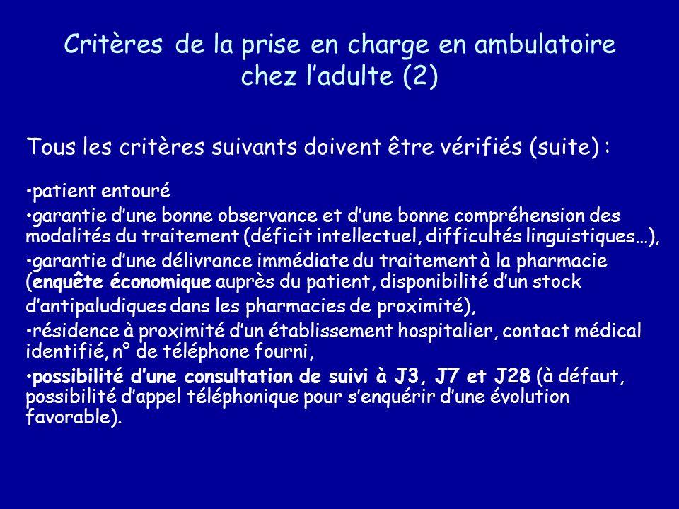 Critères de la prise en charge en ambulatoire chez ladulte (2) Tous les critères suivants doivent être vérifiés (suite) : patient entouré garantie dun