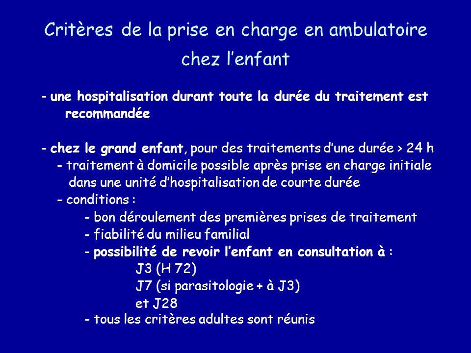 Critères de la prise en charge en ambulatoire chez lenfant - une hospitalisation durant toute la durée du traitement est recommandée - chez le grand e