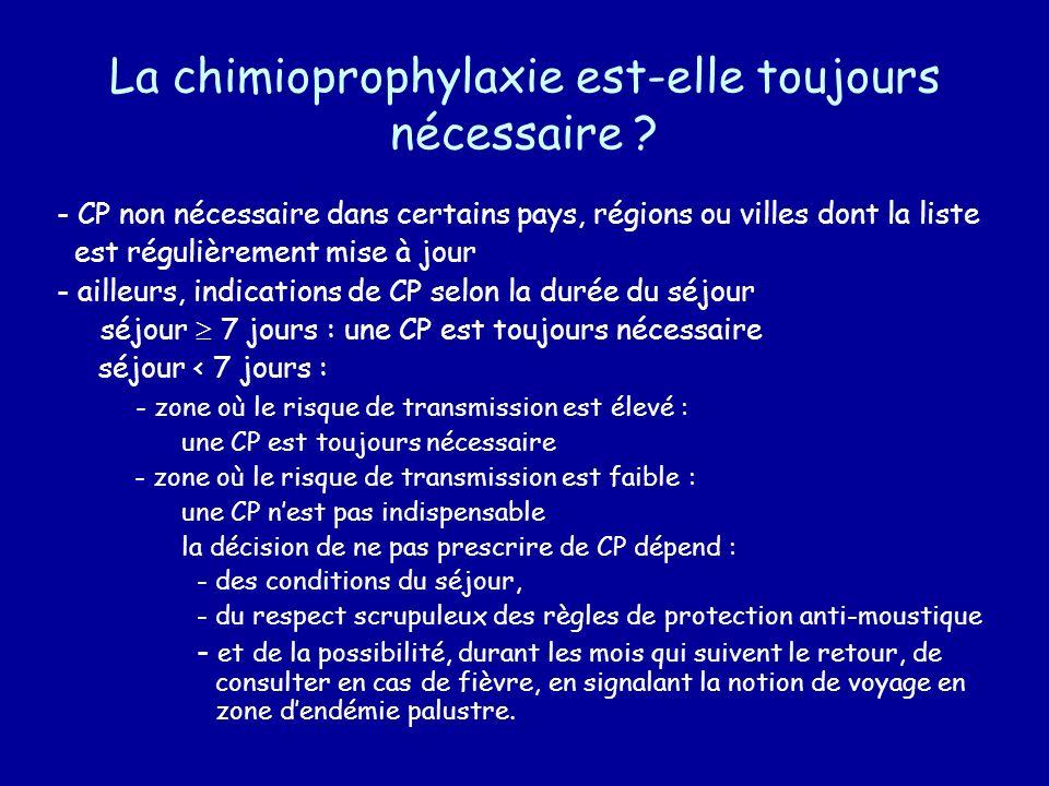 La chimioprophylaxie est-elle toujours nécessaire ? - CP non nécessaire dans certains pays, régions ou villes dont la liste est régulièrement mise à j