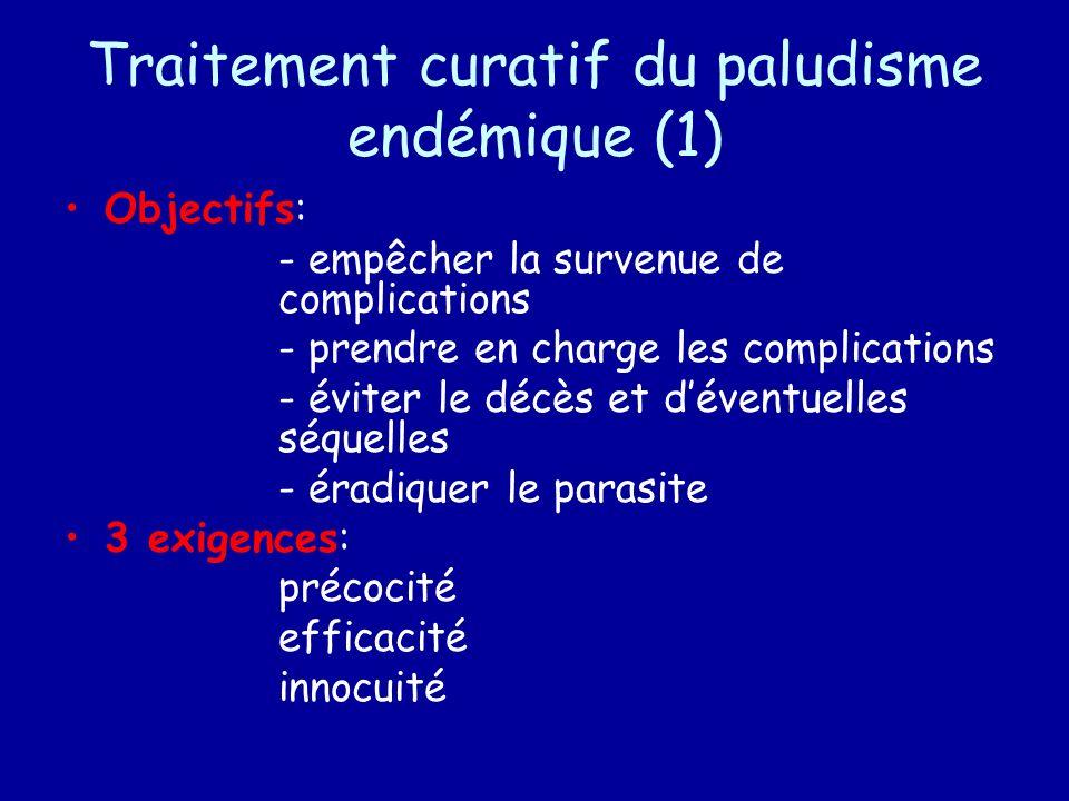 Traitement curatif du paludisme endémique (1) Objectifs: - empêcher la survenue de complications - prendre en charge les complications - éviter le déc