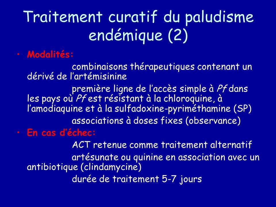 Traitement curatif du paludisme endémique (2) Modalités: combinaisons thérapeutiques contenant un dérivé de lartémisinine première ligne de laccès sim